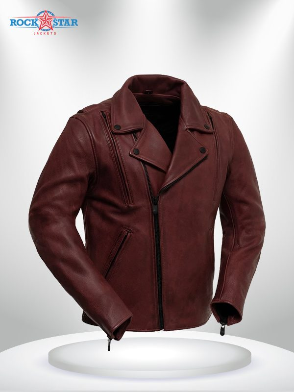 Night Rider Rockstar BlackMaroon Men's Leather Motorcycle Jacket front