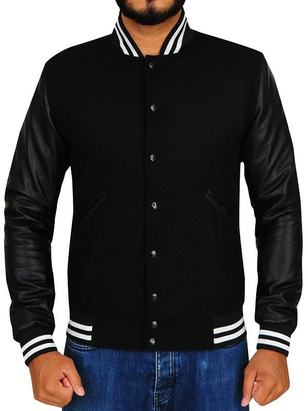 Noah Centineo The Perfect Date Black Varsity Jacket front