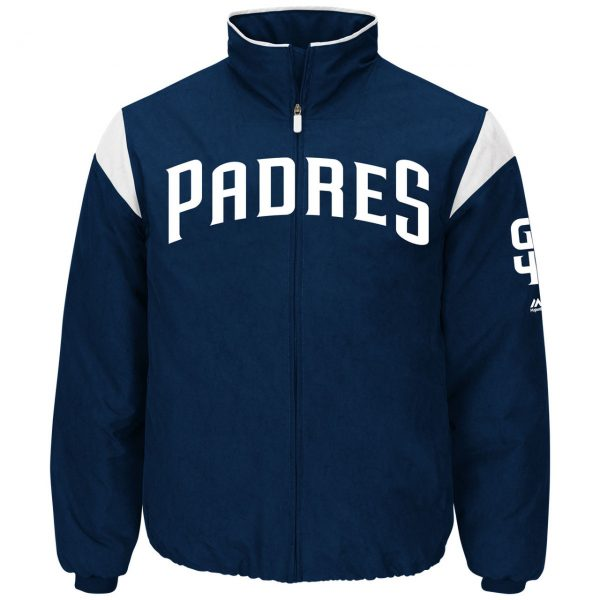 Padres San Diego Majestic Navy Authentic Premier Jacket front