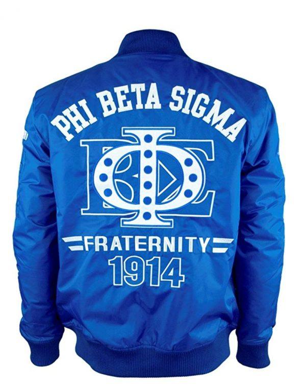Phi Beta Sigma Fraternity Logo Bomber Blue Jacket back