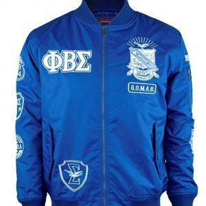 Phi Beta Sigma Fraternity Logo Bomber Blue Jacket front