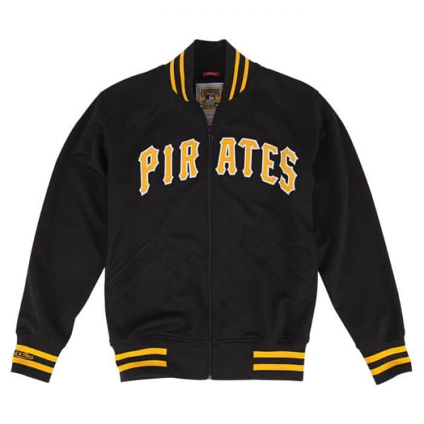 Pittsburgh Pirates 1987 Authentic BP Black Bomber Jacket frontPittsburgh Pirates 1987 Authentic BP Black Bomber Jacket front