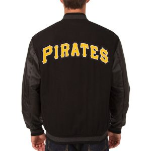 Pittsburgh Pirates Black Wool & Leather Reversible Jacket back