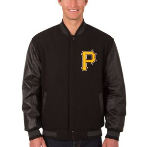 Pittsburgh Pirates Black Wool & Leather Reversible Jacket front