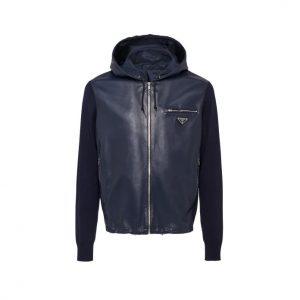 Prada Nappa Navy Blue Hoodie Leather Jacket