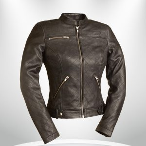 Queen Of Diamonds Rockstar Women's Brown Quilted Motorcycle Leather Jacket
