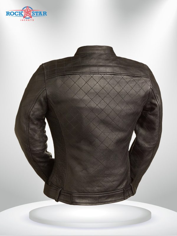 Queen Of Diamonds Rockstar Women's Brown Quilted Motorcycle Leather Jacket back