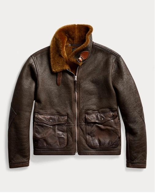 Ralph Lauren RRL Trim Shearling Collar Brown Leather Jacket