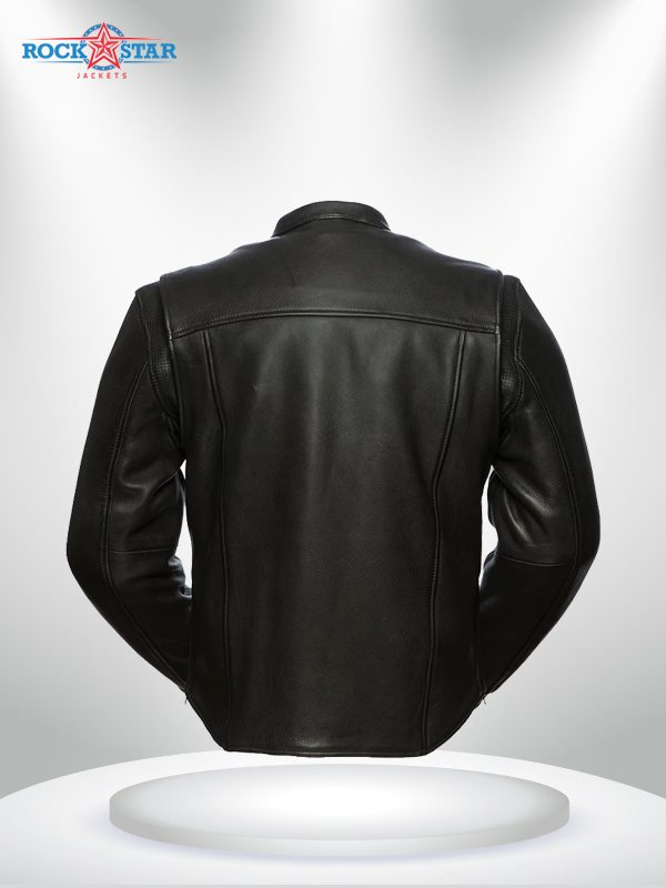 Revolt Rockstar Men's Motorcycle Leather Jacket back