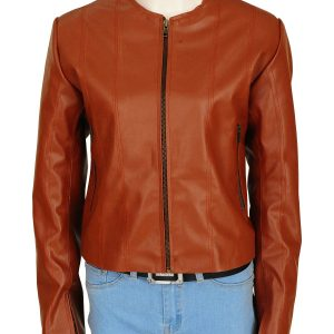 Rizzoli & Isles Sasha Alexander Brown Leather Jacket front