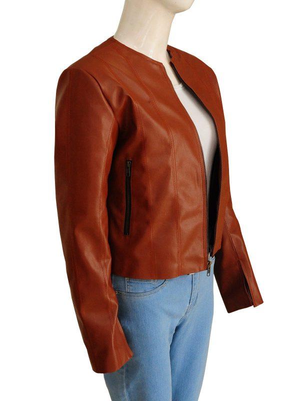 Rizzoli & Isles Sasha Alexander Brown Leather Jacket side