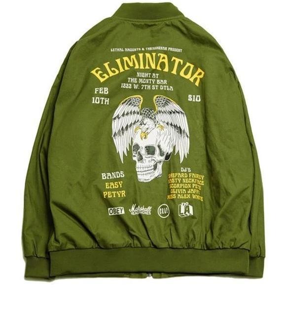 Rockstar Eliminator Green Bomber Jacket back
