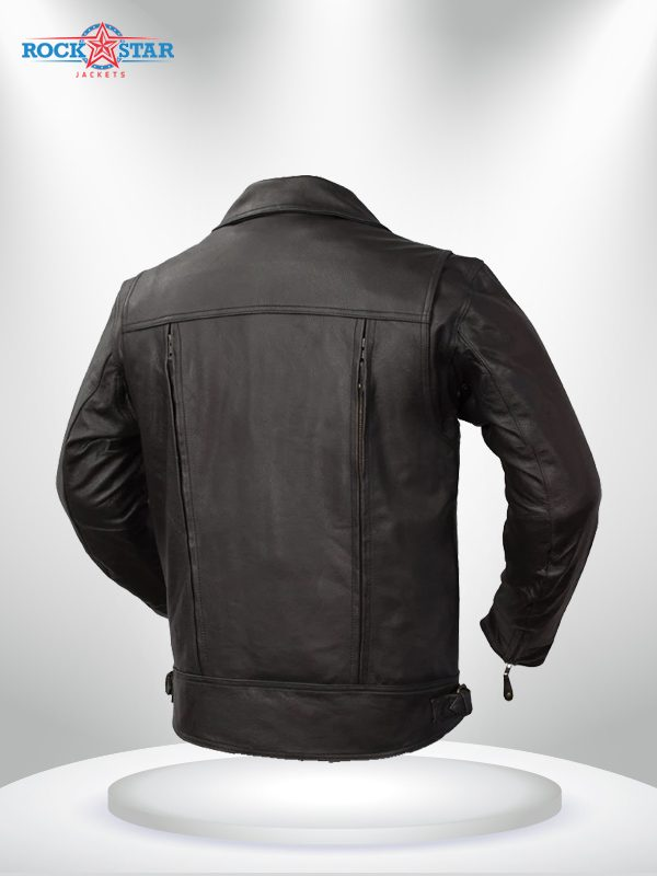 Rockstar Mastermind Motorcycle Men's Black Leather Jacket back
