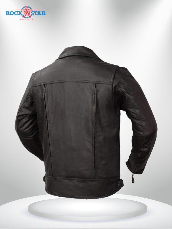 Rockstar Mastermind Motorcycle Men's Black Leather Jacket back
