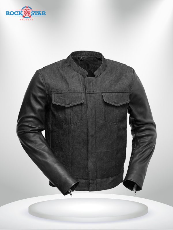 Rockstar Motorcycle Cutlass DenimLeather Jacket