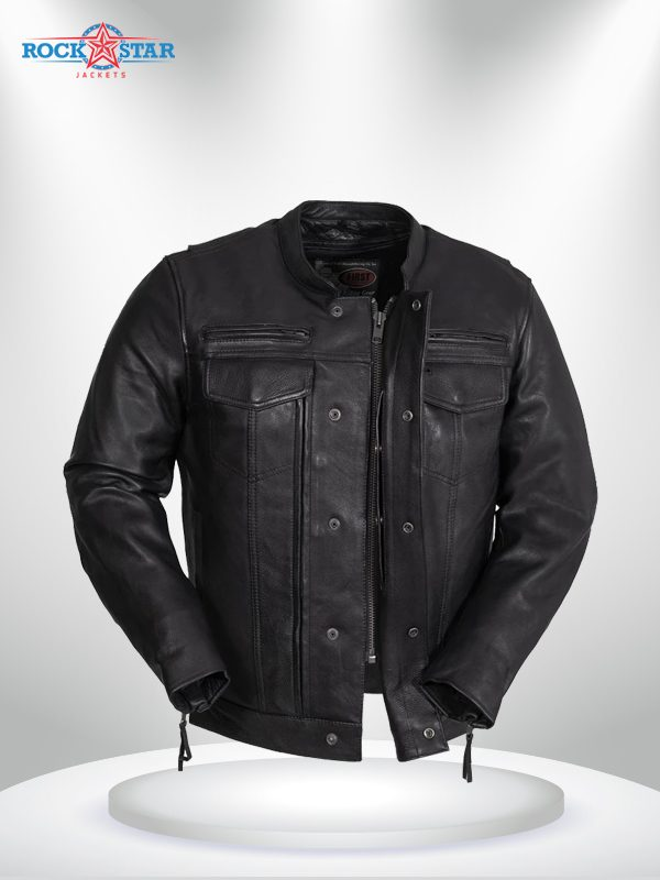 Rockstar Raider Black Men's Leather Jacket front