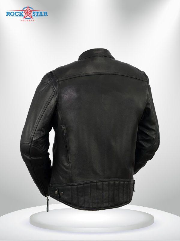 Rockstar Top Performer Men's Black Leather Jacket back