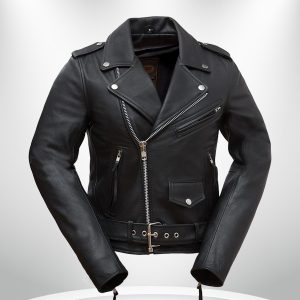 Rockstar Women's Black Motorcycle Double Rider Collar Leather Jacke