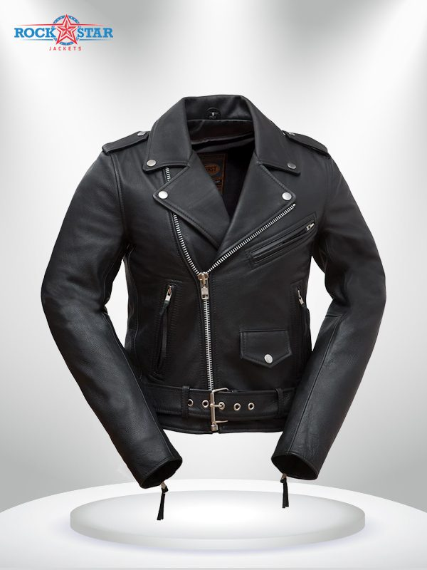 Rockstar Women's Black Motorcycle Double Rider Collar Leather Jacke