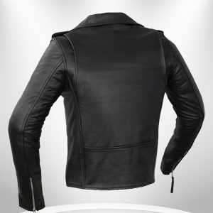 Rockstar Women's Black Motorcycle Double Rider Collar Leather Jacke back