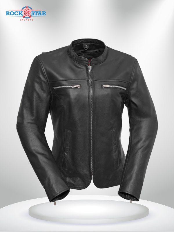Roxy Rockstar Light Weight Cafe Style Black Leather Jacke