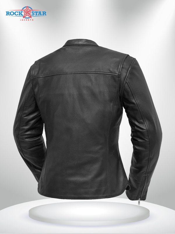 Roxy Rockstar Light Weight Cafe Style Black Leather Jacke back