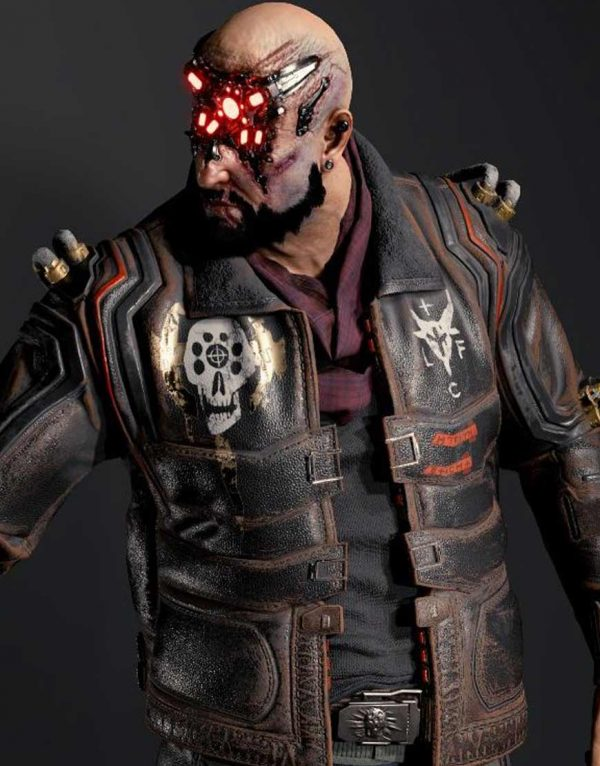 Royce Cyberpunk 2077 Black Leather Jacket front