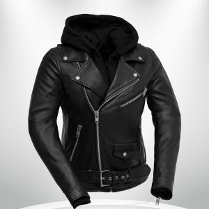 Ryman Rockstar Women's Black Motorcycle Hoodie Leather Jacket