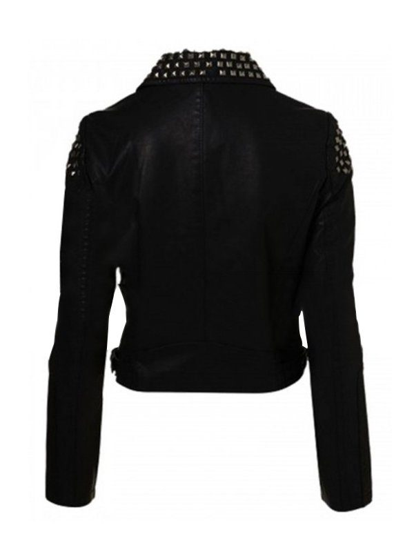 Saraya-Jade Bevis Studded Black Leather Jacket back