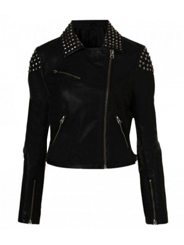 Saraya-Jade Bevis Studded Black Leather Jacket front
