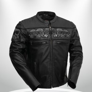 Savage Skulls Rockstar Motorcycle Men's Black Leather Jacket