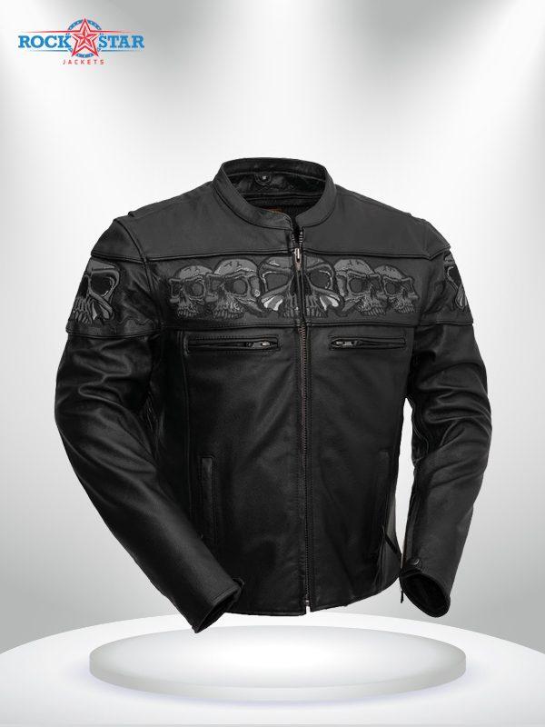 Savage Skulls Rockstar Motorcycle Men's Black Leather Jacket