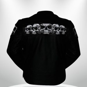 Savage Skulls Rockstar Motorcycle Men's Black Leather Jacket back