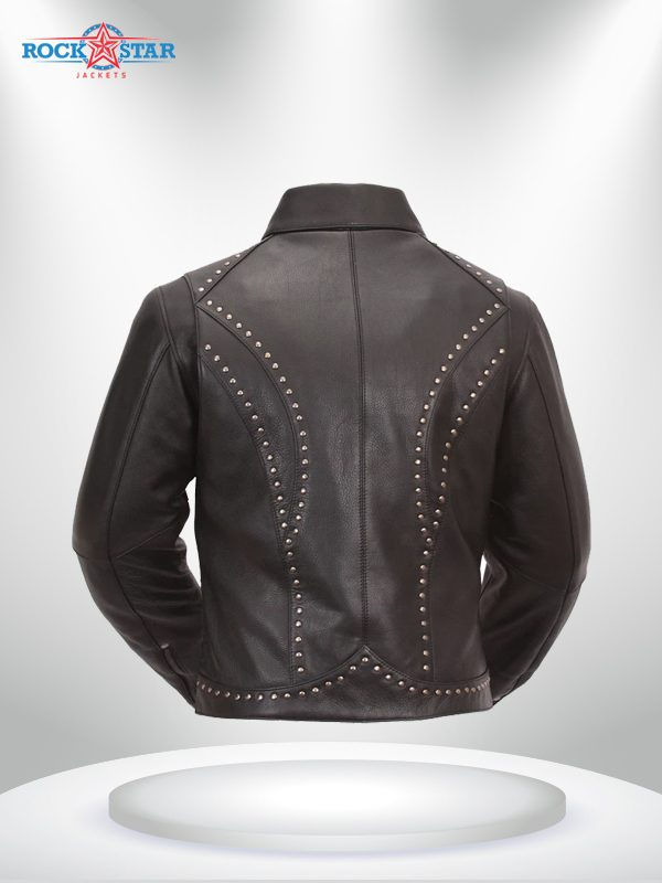 Scarlett Star Rockstar Women's Lapel Collar Black Motorcycle Leather Jackett back