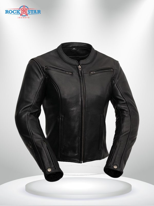 Speed Queen Rockstar Women's Black Round Collar Motorcycle Leather Jacket
