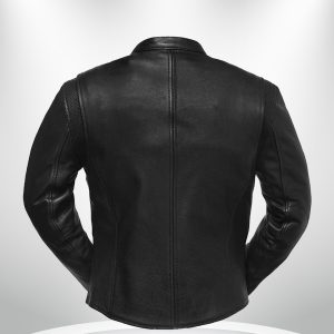 Speed Queen Rockstar Women's Black Round Collar Motorcycle Leather Jacket back