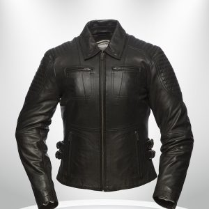 Speedy Rockstar Women's Black Motorcycle Shirt Collar Leather Jacket