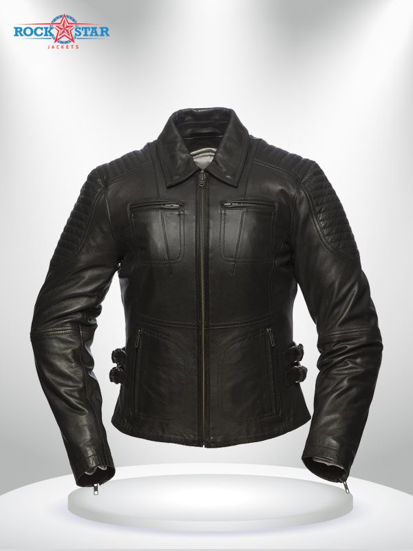 Speedy Rockstar Women's Black Motorcycle Shirt Collar Leather Jacket