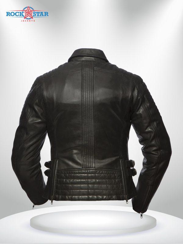 Speedy Rockstar Women's Black Motorcycle Shirt Collar Leather Jacket back