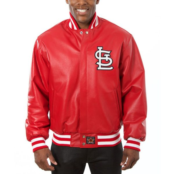 St. Louis Cardinals Red Team Bomber Leather Jacket front