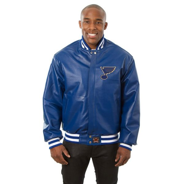 St.Louis Blues Royal Bomber Leather Jacket front