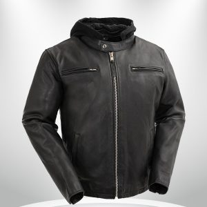 Street Cruiser Rockstar Men's Motorcycle Hoodie Leather Jacket