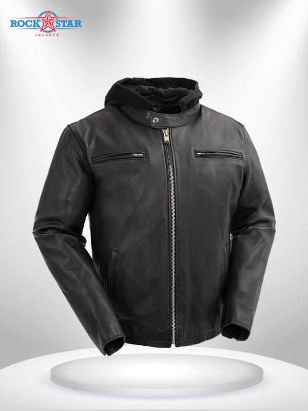 Street Cruiser Rockstar Men's Motorcycle Hoodie Leather Jacket