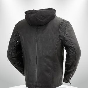 Street Cruiser Rockstar Men's Motorcycle Hoodie Leather Jacket back