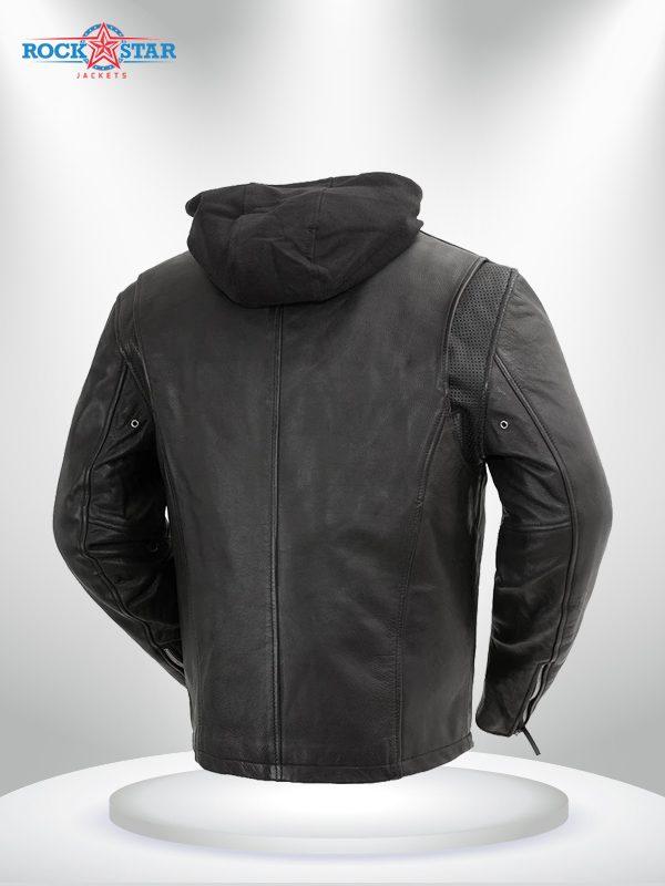 Street Cruiser Rockstar Men's Motorcycle Hoodie Leather Jacket back