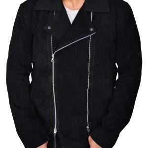 The Blacklist Ryan Eggold Black Suede Leather Jacket front