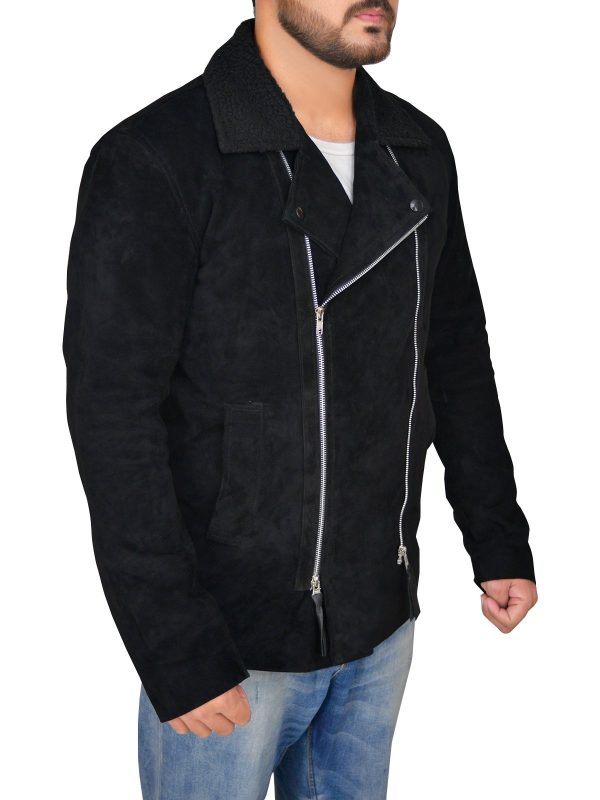 The Blacklist Ryan Eggold Black Suede Leather Jacket side