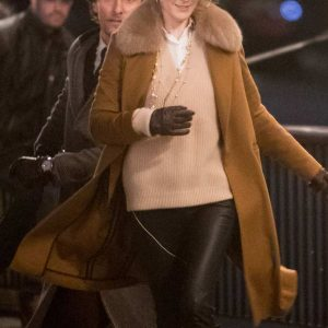 The Gentlemen Michelle Dockery Shearling Collar Brown Long Coat