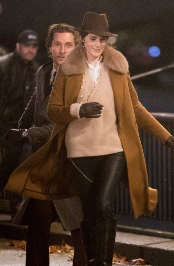 The Gentlemen Michelle Dockery Shearling Collar Brown Long Coat