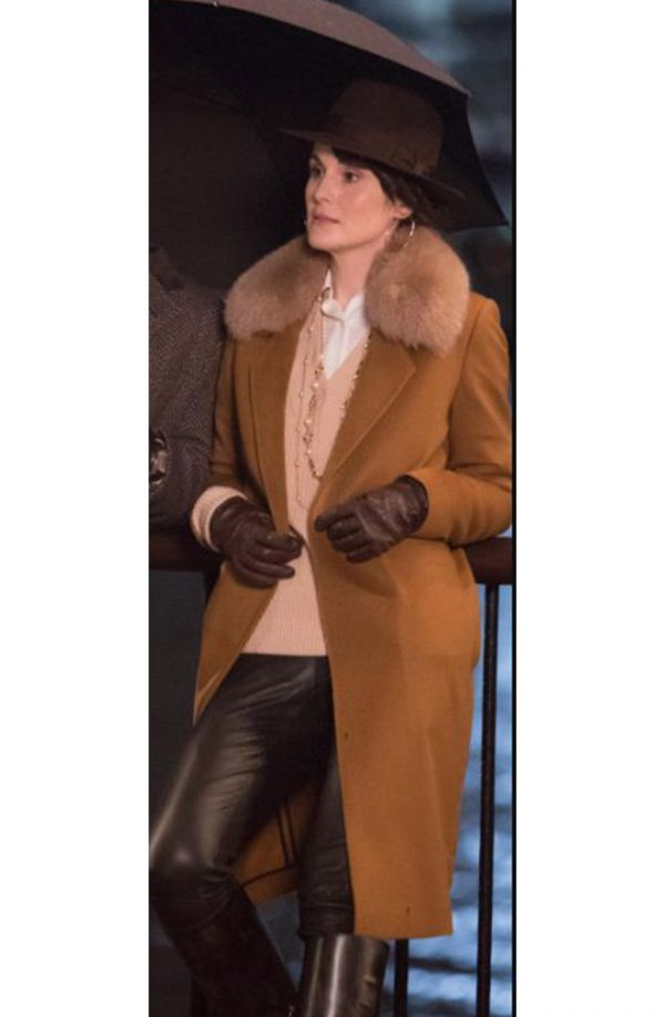 The Gentlemen Michelle Dockery Shearling Collar Brown Long Coat d